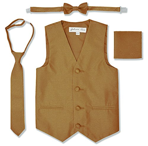 Johnnie Lene JL34 Boys Formal Tuxedo Vest Set (2T/3T, Gold)