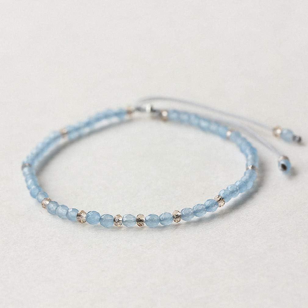 Hynsin Small Beads Bracelets for Women Handmade Sea Blue Natural Stone Friendship Adjustable Beaded String