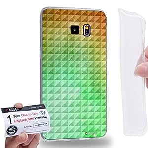 Case88 [Samsung Galaxy S6 Edge Plus] Gel TPU Carcasa/Funda & Tarjeta de garantía - Art Fashion Green Orange Gradient Ombre Pattern 1346
