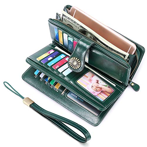 UMODE Vintage Style Genuine Leather Large Capacity RFID Wallet Organizer for Women (Deep green)