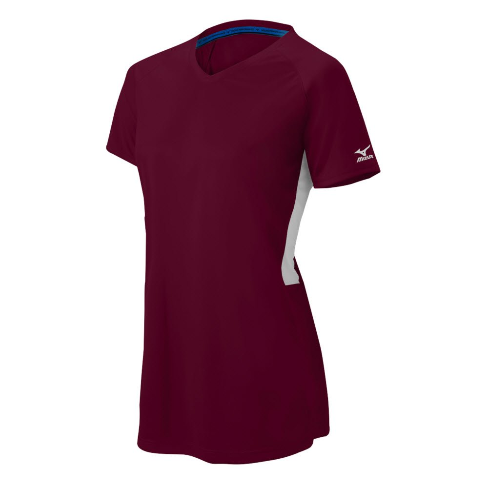 Mizuno Girl 's Comp半袖Vネック B01JF1P1EY MEDIUM (M)|Maroon-White Maroon-White MEDIUM (M)