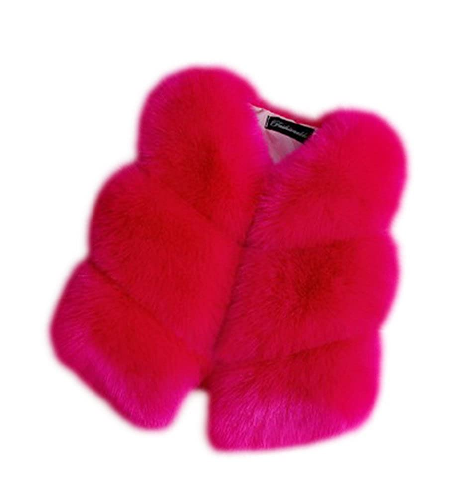 LIVEINU Girls Faux Fox Fur Vest Coat Winter Toddler Sleeveless Waistcoat Jacket