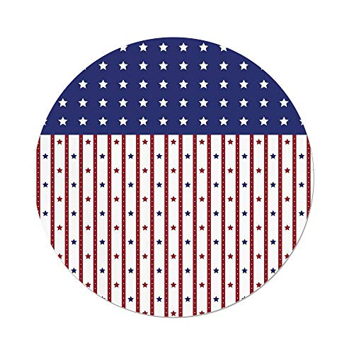 iPrint Polyester Round Tablecloth,USA,American Flag with Stars and Stripes Nationality Independence Day Theme,Violet Blue Ruby White,Dining Room Kitchen Picnic Table Cloth Cover,for Outdoor ()