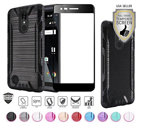 Compatible for LG Aristo 3 Plus/3/2,Fortune 2,K8,Phoenix 4,Rebel 3/4,Risio 3,Tribute Empire, Zone 4 Case with Tempered Glass, Heavy Duty [Shock Proof] Hybrid (Black)