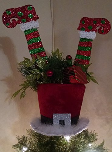 Santa's Top Hat Tree Topper - Christmas Top Hat Tree Topper - Tree Topper Bow - Top Hat Tree Topper - Top Hat - Tree Top - (Tree Christmas Hat Topper Santa)
