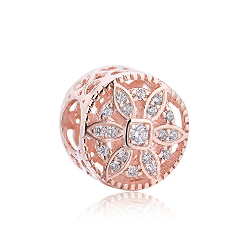 BEAUTY CHARM Gold Plated Flower Beads DIY Rose Gold Crystal Charm Fit Pandora Bracelet or Chain