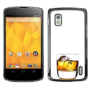 Shell-Star Arte & diseño plástico duro Fundas Cover Cubre Hard Case Cover para LG Google NEXUS 4 / Mako / E960 ( Whiskey Rocks Drink Alcohol Gold )