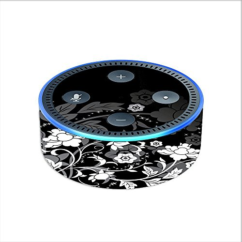 Price comparison product image Skin Decal Vinyl Wrap for Amazon Echo Dot 2 (2nd generation) / Black Floral Pattern