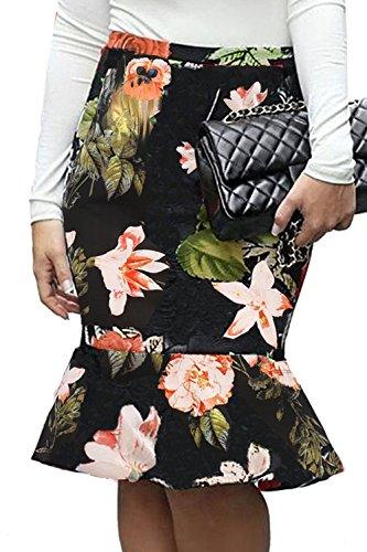 Longueur Sirne Les Jupe Jupe Floral Black1 Femmes Crayon Plaid Genou r8IOr