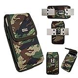 LG V20 / LG V10 Pouch XX Large Premium Camouflage Rugged Nylon Pouch CAMO Case Holster Metal Belt Clip Belt Loop+Carabiner Hook(Fits phone+Spigen/Hybrid/Kickstand/Armor protective cover)
