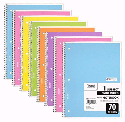 Ruled Pastel - Mead Spiral Notebook, 8 Pack of 1-Subject Wide Ruled 70 Sheet Spiral Bound Notebooks, Pastel Colors, COLOR WILL VARY