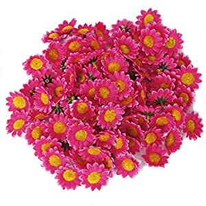 Approx 100pcs Artificial Gerbera Daisy Silk Flowers Heads for DIY Wedding Party (Rose) 2