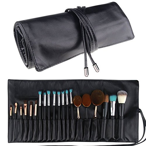 Price comparison product image Travelmall Makeup brush rolling case pouch holder Cosmetic bag organizer Travel portable 18 pockets Cosmetics Brushes Black leather case