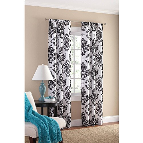 Black and White Damask Curtain Panel Set of 2, 40x84-Inch. (Black And Curtain White)