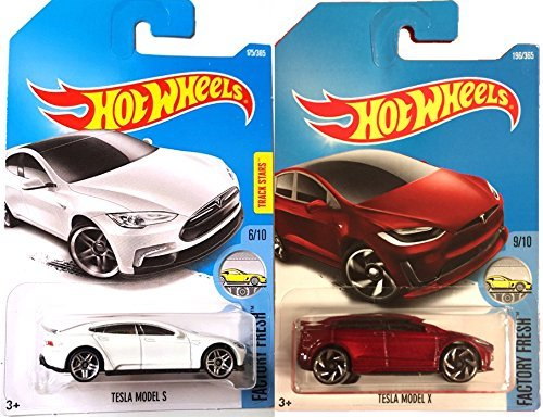 Hot Wheels 2017 New Casting Red Model X #196 Factory Fresh Tesla Model S #175 White 2 car bundle in Protective Cases HWAYB