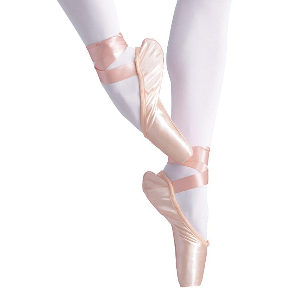 Byjia Ballet Pointe Chaussures Pour Les Filles / Femmes En Rose Avec Des Orteils Libres Coussinets Et Rubans De Satin De Base Yoga Classique Strappy wexe.com