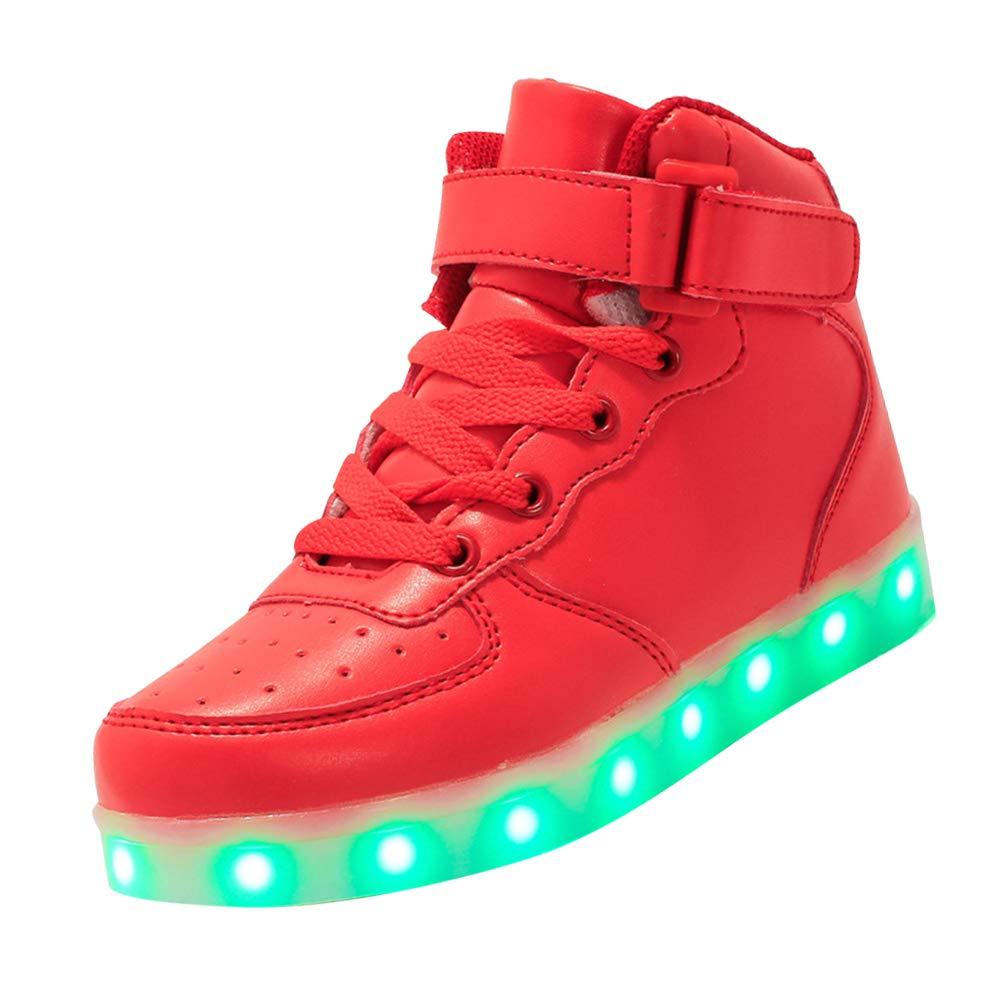 Tenthree Zapatos Deortivos Flashing Zapatillas - Luminoso Intermitente Niñ o LED Iluminarse USB Cargando Zapatillas de Deporte Cuero Transpirable Informal Caminar Niñ os Chicas Al Aire Libre Ledshoes03tte