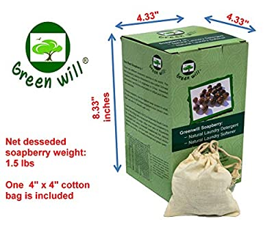 GREENWILL 1.5 Pounds Organic Soapberry/Soap Nut with Wash Bag - Use Real Soapberry!