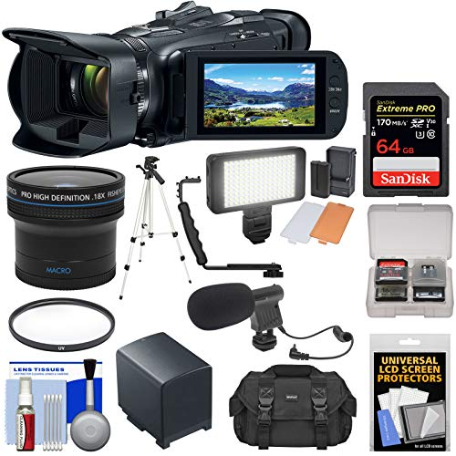 Canon Vixia HF G50 Wi-Fi 4K Ultra HD Video Camera Camcorder with Fisheye Lens + 64GB Card + Battery + Video Light + Mic + Case + Tripod + Filter Kit