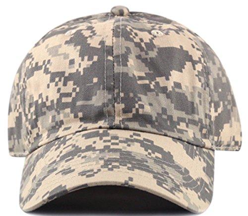 MIRMARU Plain Stonewashed Cotton Adjustable Hat Low Profile Baseball Cap.(Grey Digital Camo) (Camo Grey Cap)
