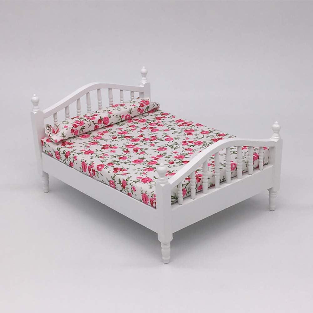 1//12 Retro Wooden Single Bed with Sheet Model DIY Dollhouse Decor Accessory Cute