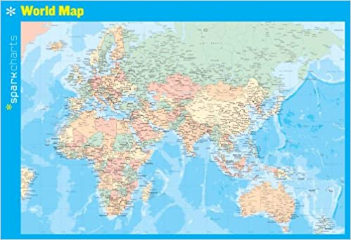 Study World Map.World Map Sparkcharts Sparknotes 9781411470965 Amazon Com Books
