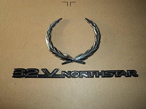 Cadillac 32v North Star Crest Piece Emblem Ornament Metal Nameplate Set of Decals (Northstar Ornament)