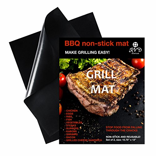 Miracle Grill Mat - Keeps Your Barbeque Clean - Set of 2 Reusable, Heavy Duty Non-Stick Grilling Mats – 16 x 13 Inch - Fat-Free Cooking – As seen on TV-Open the Way to Healthy Food