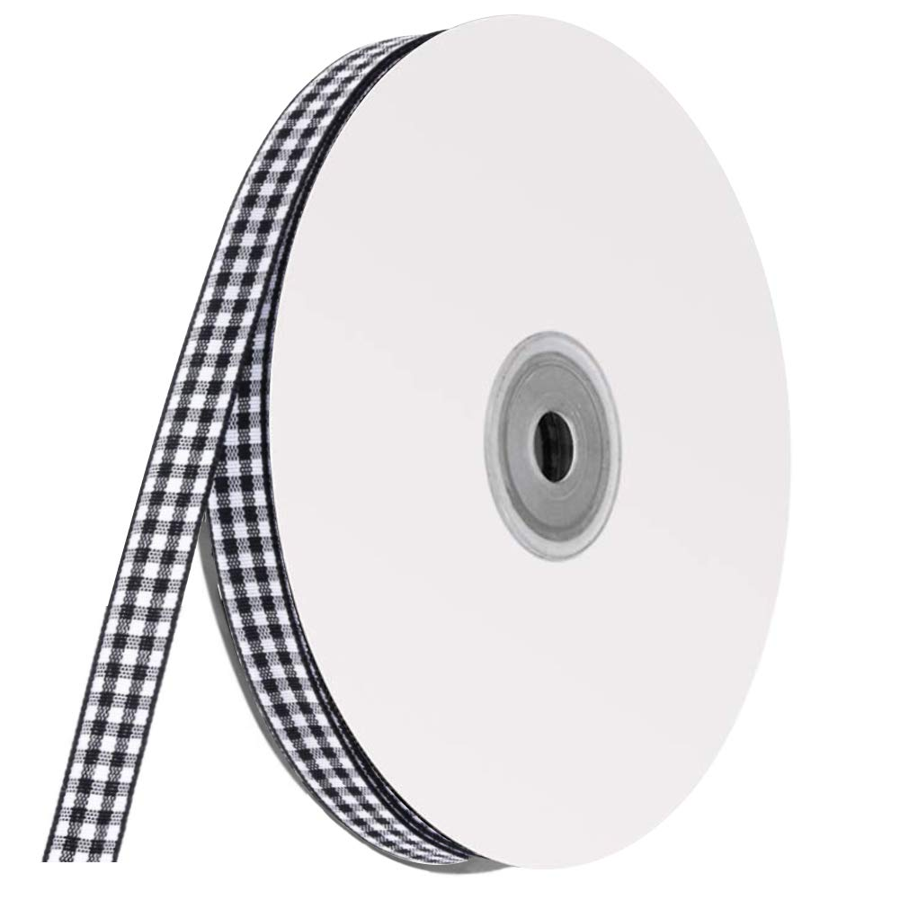 Buffalo Ribbon Decoration-50 Yards×3/8 Inch White and Black Gingham Ribbon, Decorate Your House,Staircase and DIY Any Kind of Style You Like.