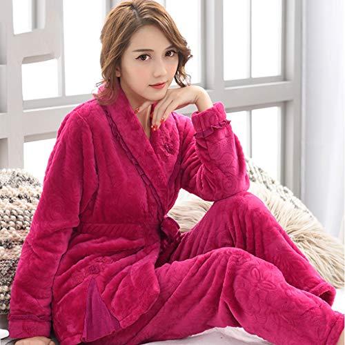 Casera Pijama Dos Piezas Elegante Invierno Terciopelo Franela Una Tamaño De Larga Rose Camisones Femenino Red Grueso Vestimenta Coral Manga Pijamas Y Traje Novia Gran Piez wqZx80Ha