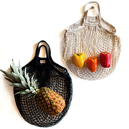 Sugarberry Reusable Grocery Bags - 100% Cotton Net, Foldable, Storage Organizer, Laundry Bag, Market Tote, Beach Bag, Toy Mesh Bag, Fruit Vegetable, Pack of 2 (Black, Natural) ()