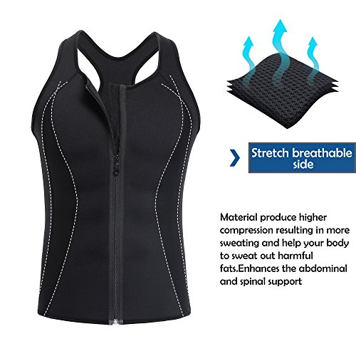 ee9e53e2cc TAILONG Men Hot Neoprene Workout Sauna Tank Top Zipper Waist Trainer Vest  Weight Loss Body Shaper Compression Shirt Gym Clothes Corset (Black Workout  Tank, ...