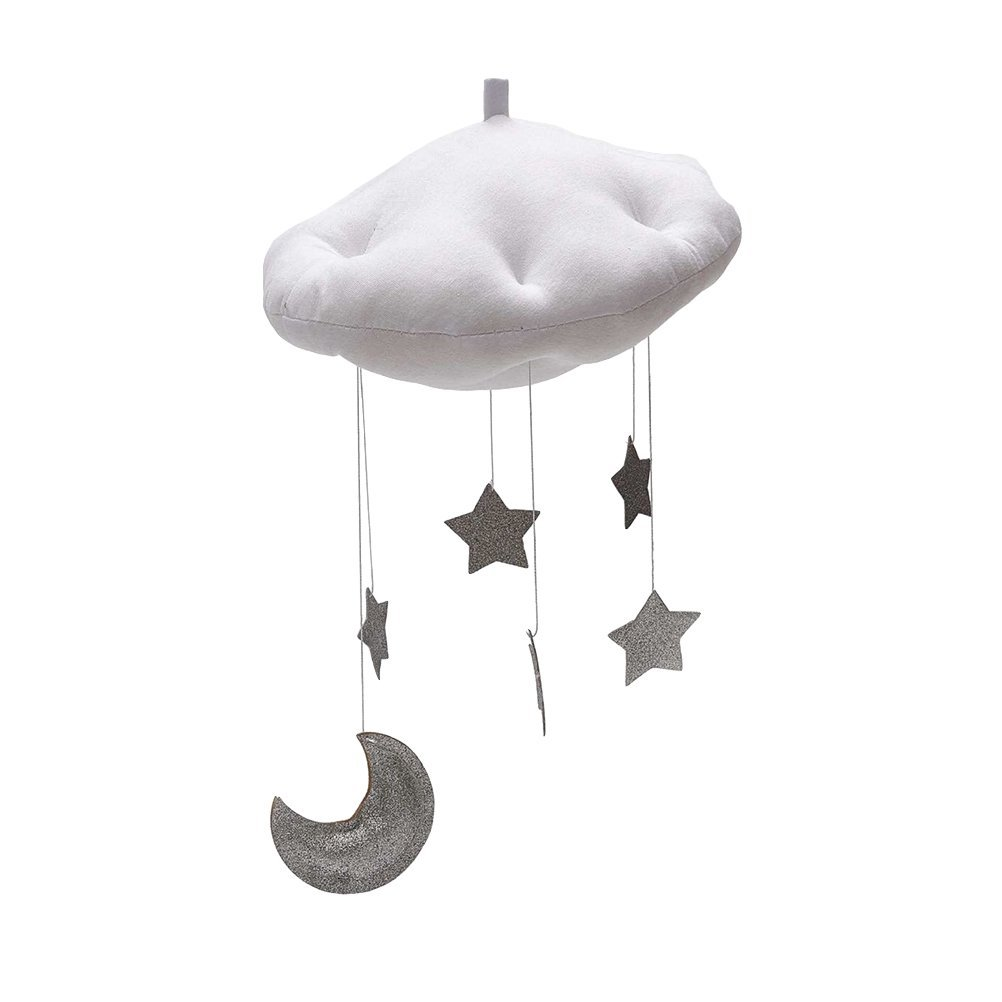 BESTOYARD Baby Nursery Ceiling Mobile Crib Mobile Clouds Moon Stars Ceiling Hanging Decorations Kids Room Baby Shower Decoration (White Clouds and Silver Stars)