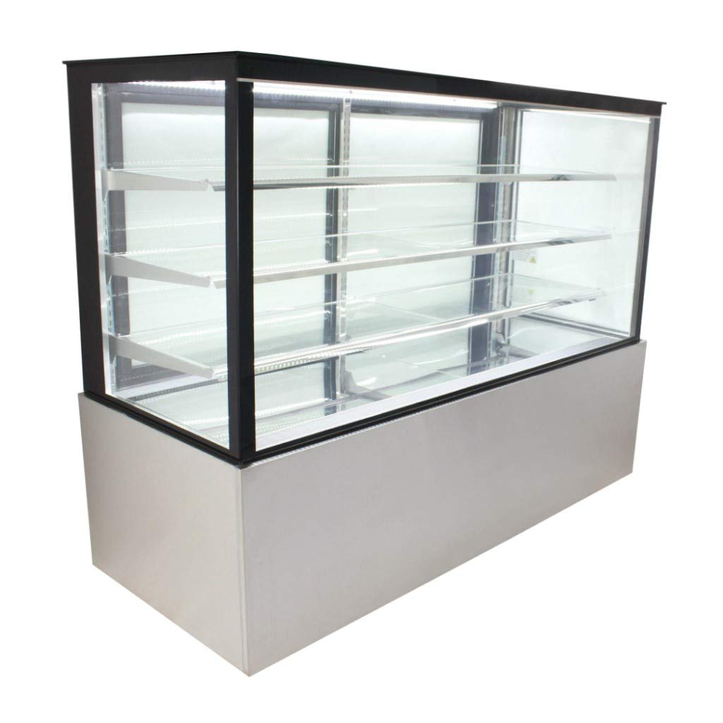 "Refrigerated Glass Side Bakery Cake Display Case - Floor Standing - 72"" Wide, 55"" Tall"