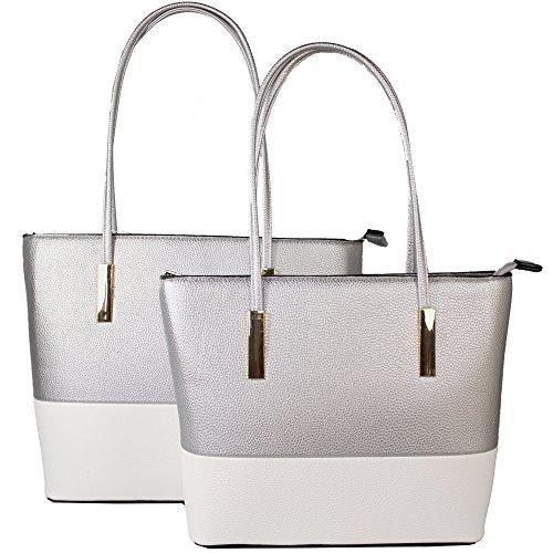 2 Taschen - 1 Preis Henkeltaschen Handtasche in versch. Farben Hochwertiges Kunstleder (Hellblau-Weiß) Silber-weiß RQPJegpXE2