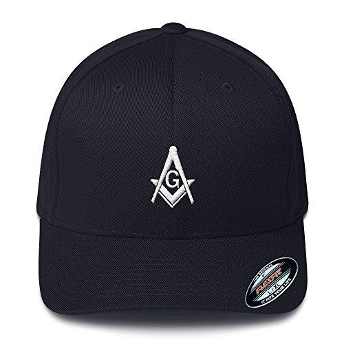 Masonic Gears Flexfit Mason Hat 3D Puff White Thread L/XL ()
