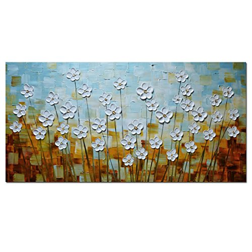 Asdam Art –(100% Handmade 3D) Paintings on Canvas Pictures Landscape Artwork Wall Art Flowers Large White Daisy Oil Painting Impasto Palette Knife Painting (24X48 inch) (Decorating Ideas For Large Walls)
