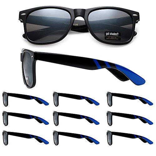 WHOLESALE RETRO BULK LOT TEAM SPIRIT STRIPED PROMOTIONAL SUNGLASSES - 10 PACK (Gloss Black | Blue Stripes | Smoke Lens, 52) (Sunglasses Wholesale Lots)