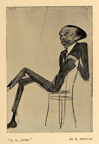 1908 Print G. G. Junr Ospovat Man Chair Teeth Head Suit - Original Halftone Print