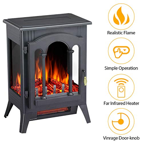 Antratic Star Infrared Electric Fireplace Stove Freestanding, 1000/1500w Portable Indoor Electric Fireplace Heater with Realistic 3D Flames(Black)