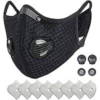 HONYAO Herbruikbaar stofmasker met oorlus, sportief beschermend masker met actief koolfilter en kleppen, voor motorfiets…