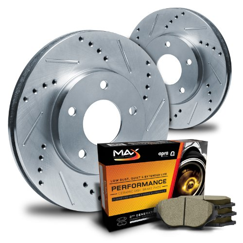Max KT080712 Rear Silver Slotted & Cross Drilled Rotors and Ceramic Pads Combo Brake Kit