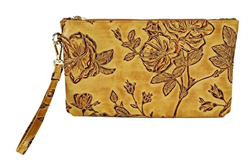 2f3dbf66a9 Cuoieria Fiorentina Italian Embossed Tooled Leather Pochette Handbag (Beige)