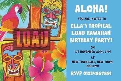 10 X Tropical De Personalizado De Tu Propio Aqua Luau