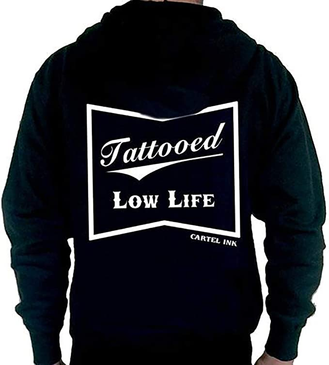 Amazon.com: cartel ink Tattooed Low Life Zip Up Hoodie ...