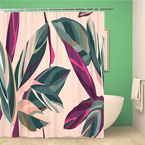 Awowee 72x72 Inches Shower Curtain Floral Pattern Leaves of Cordelia On A Pink Waterproof Polyester Fabric Bath Bathroom Curtain Set with Hooks