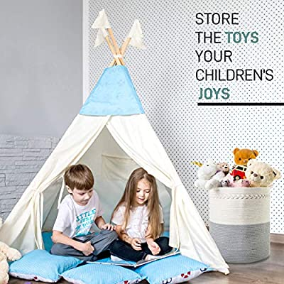 """Free Wool Dryer Balls by Booby Cotton Rope Basket for Dirty Clothes 18/"""" x 16/"""" Woven Round Basket Extra Large Kids Toy Storage More Apartment and Nursery Decor Folding Laundry Basket Dog Toys"""