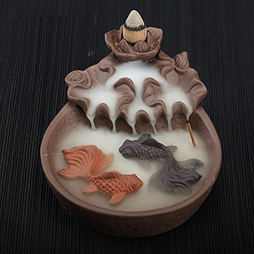 NewEGG Two Fishes Ceramic Purple Clay Smoke Backflow Incense Cone Sticks Burner Holder - incensecentral.us