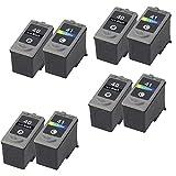 HOTCOLOR Value Pack 8PK Set of 8 Pack PG-40 CL-41 (4 BLACK & 4 COLOR)Compatible Ink Cartridge Set for Pixma iP1600/iP1700/iP1800/iP2600/MP140/MP150/MP160/MP170/MP180/MP190
