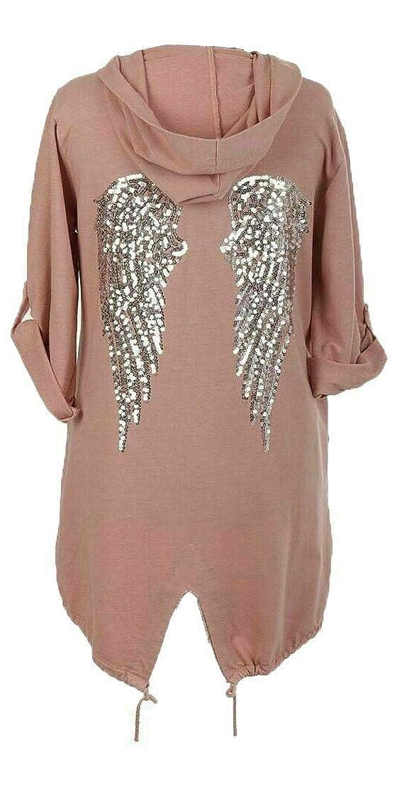 GirlzWalk@ Chaqueta con Estampado de Camuflaje para Mujer dise/ño de alas de /ángel